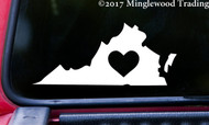 "VIRGINIA HEART State Vinyl Decal Sticker 7"" x 3"" Love VA"