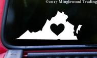 "VIRGINIA HEART State Vinyl Decal Sticker 7"" x 3"" Love VA"