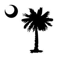 Palmetto with Crescent Moon - Vinyl Decal Sticker - South Carolina - Tree