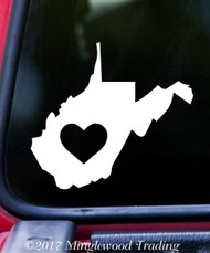 "WEST VIRGINIA HEART State Vinyl Decal Sticker 6"" x 5.5"" Love WV"