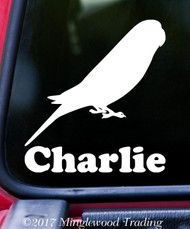 BUDGIE with Personalized Name Vinyl Sticker - Budgerigar Parakeet Parrot Bird - Die Cut Decal