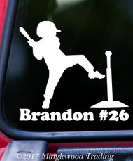 "TEE BALL PLAYER w/Personalized Name 5"" x 5"" Vinyl Decal Sticker T-Ball Teeball"
