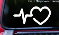 "HEARTBEAT EKG HEART 5"" x 2.5"" Vinyl Decal Sticker - Pulse Line"