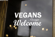 "VEGANS ALWAYS WELCOME 8"" x 4"" Vinyl Decal Sticker - Veganism Plants"