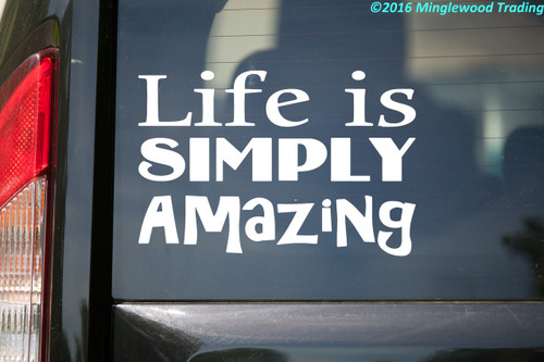 """White custom vinyl decal of """"Life is Simply Amazing"""" applied to the rear window of a vehicle."""
