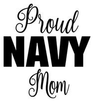 "PROUD NAVY MOM  6"" x 6"" Vinyl Decal Sticker - USN United States Military"