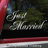 "Just Married 11.5"" x 6"" Vinyl Sticker - Honeymoon Wedding Marriage Vows Love - Die Cut Decal"