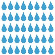 "Raindrops (40) 2"" x 1"" Vinyl Decal Stickers - Water Droplets  Drops Agua"