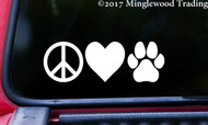 "PEACE LOVE PAWPRINT 6"" x 2"" Vinyl Decal Sticker - Dog Cat Puppy Kitten Paw"
