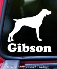 "GERMAN SHORTHAIRED POINTER with Custom Name 5"" x 5"" Vinyl Decal Sticker - Dog GSP"