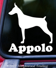 "DOBERMAN PINSCHER with Custom Name 5"" x 6"" Vinyl Decal Sticker - Dobie Dog Dobermann"