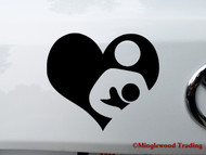 "BREASTFEEDING HEART 6"" x 5"" BLACK Vinyl Decal Sticker - Nursing"