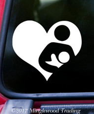 "BREASTFEEDING HEART 6"" x 5"" WHITE Vinyl Decal Sticker - Nursing"