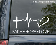 "FAITH HOPE LOVE -v2- 13"" x 7"" WHITE Vinyl Decal Sticker Cross Heart"
