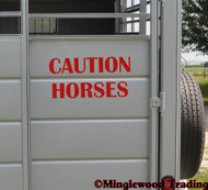 "CAUTION HORSES 20"" x 10"" RED Vinyl Decal Sticker - Horse Trailer Show"