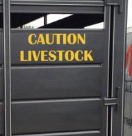 "CAUTION LIVESTOCK 20"" x 7.5"" YELLOW Vinyl Decal Sticker - Cattle Horse Trailer"