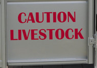 "CAUTION LIVESTOCK 20"" x 7.5"" RED Vinyl Decal Sticker - Cattle Horse Trailer"