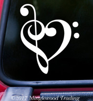 "HEART MUSIC NOTE 5"" x 4.25"" Vinyl Decal Sticker - Love Musician"