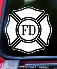 "FIRE DEPARTMENT 5"" x 5"" -V2- Vinyl Decal Sticker - Maltese Cross VFD Firefighter"