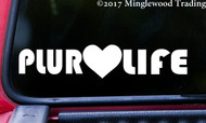 "PLUR LIFE 10"" x 2"" - V1 - Vinyl Decal Bumper Sticker - Peace Love Unity Respect - EDM Heart FREE SHIPPING"
