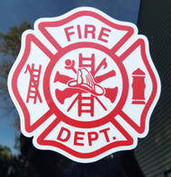"FIRE DEPARTMENT Die Cut Vinyl Sticker 5"" x 5"" Maltese Cross Firefighter FD Red/White"