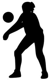 "Volleyball Girl Player Vinyl Decal Sticker Indoor Beach Grass Serve Spike 5"" x 3"""