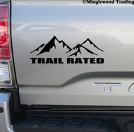 "TRAIL RATED 8"" x 3"" Vinyl Decal Sticker - 4X4 4WD Off Road Truck Jeep Motorcycle Mountains FREE SHIPPING"
