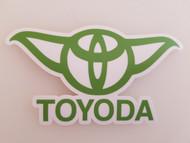 "TOYODA 6"" x 3.5"" GREEN Die Cut Vinyl Sticker - Toyota Yoda Prius Corolla RAV4 - FREE SHIPPING"