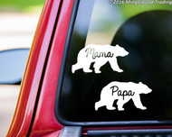 "set PAPA BEAR & MAMA BEAR 5"" x 2.5"" Vinyl Decal Stickers - Mother Father Dad Mom Family - FREE SHIPPING"