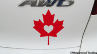 "MAPLE LEAF with HEART 5"" x 5.5"" Vinyl Decal Sticker - Canada Canadian Flag - FREE SHIPPING"