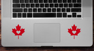 "2x MAPLE LEAF with HEART 2.5"" x 2.5"" Vinyl Decal Stickers - Canada Canadian Flag - FREE SHIPPING"