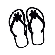 "Flip Flops with Flowers Vinyl Decal Sticker - Summer Beach Pool Slides 5"" x 4.5"""