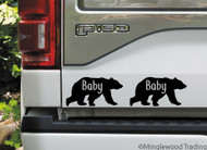 "2x BABY BEAR 4"" x 2"" Vinyl Decal Stickers - Child Baby Infant - Grizzly Brown Kodiak - FREE SHIPPING"