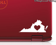 "2x VIRGINIA HEART 3"" x 1.5"" Vinyl Decal Stickers - Love RVA Richmond Va Beach Charlottesville - 20 COLOR OPTIONS"