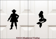 "PIRATE & MERMAID Bathroom Signs 7"" Vinyl Decal Stickers - Toilet Restroom Door Signs"
