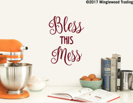 "BLESS THIS MESS 10"" x 7"" Vinyl Decal Sticker - Kitchen Home - FREE SHIPPING"