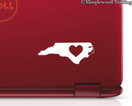 "2x NORTH CAROLINA HEART 3"" Vinyl Decal Stickers - State NC- 20 COLOR OPTIONS"