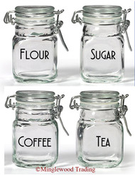 Set of 4 Canister Labels - V4 - Vinyl Decal Stickers Kitchen Flour Sugar Tea Coffee