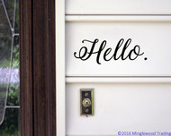 "Hello 10"" x 3.5"" Vinyl Decal Sticker - Front Door Porch Greeting"