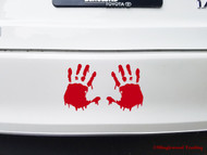 "Bloody Hand Prints 10"" x 6"" Vinyl Decal Sticker"