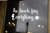 "The Beach Fixes Everything 12"" x 6"" Vinyl Decal Sticker - Seashell Seahorse"