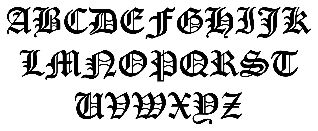 Old English Letter 11 Vinyl Decal Sticker Initial Tattoo Script