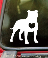 "Pit Bull Heart 5"" Vinyl Decal Sticker - Dog Pitbull Pittie American Bulldog Terrier"