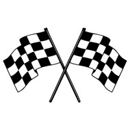 "CHECKERED FLAGS 20"" x 12"" Vinyl Decal Sticker - Racing"