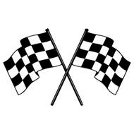 "CHECKERED FLAGS 20"" x 12"" Vinyl Decal Sticker - Racing"