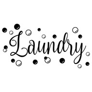 "LAUNDRY with BUBBLES 20"" x 10"" Vinyl Decal Sticker - Room Sign Soap"
