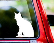"Short-Haired Cat sitting vinyl decal sticker 5"" x 4"" Feline Shorthair"