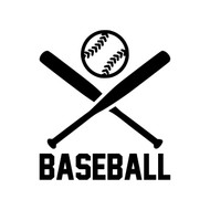 "BASEBALL Crossed Bats with Ball 5"" Vinyl Decal Sticker"