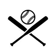 "CROSSED BATS with BALL 5"" Vinyl Decal Sticker - Baseball Softball"