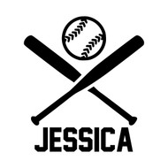 "CROSSED BATS and BALL with Personalized Name 5"" Vinyl Decal Sticker - Baseball Softball"